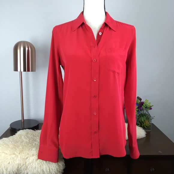 a683adb9f Equipment Tops | Femme Russian Red Silk Button Down Shirt | Poshmark